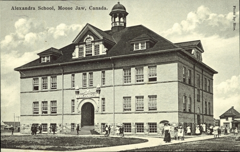 "PC011211: ""Alexandra School, Moose Jaw, Canada"" is licensed by University of Alberta Libraries under the Attribution - Non-Commercial - Creative Commons license. Permissions beyond the scope of this license may be available at http://peel.library.ualberta.ca/permissions/postcards.html."