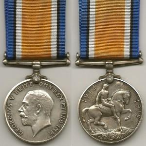 The British War Medal World War I.