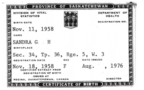 Birth Certificate from the University Hospital between the opening of the hospital May 14, 1955 and the annexation of the University Campus into the City of Saskatoon January 1, 1959