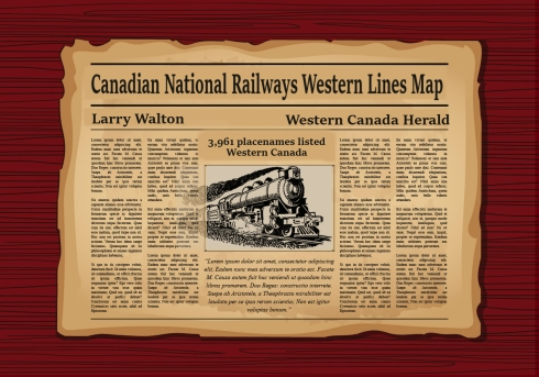 Old Newspaper article National Railways Western Lines Map British Columbia, Alberta, Saskatchewan Manitoba, Ontario.  By Larry Walton