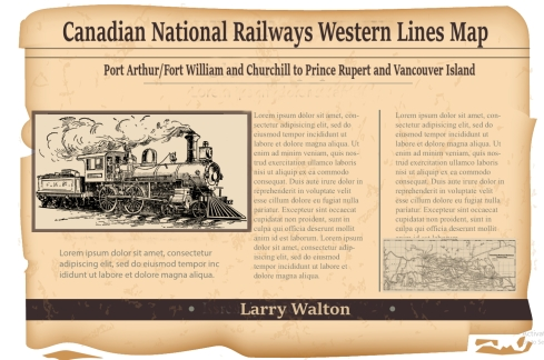 Old Newspaper article National Railways Western Lines Map depicting Port Arthur / Fort William and Churchill to Prince Rupert and Vancouver Island. BC, Alberta, Saskatchewan, Manitoba, Ontario Larry Walton